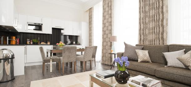 Ashburn Court South Kensington Serviced Apartments London - Open Plan Kitchen | Urban Stay