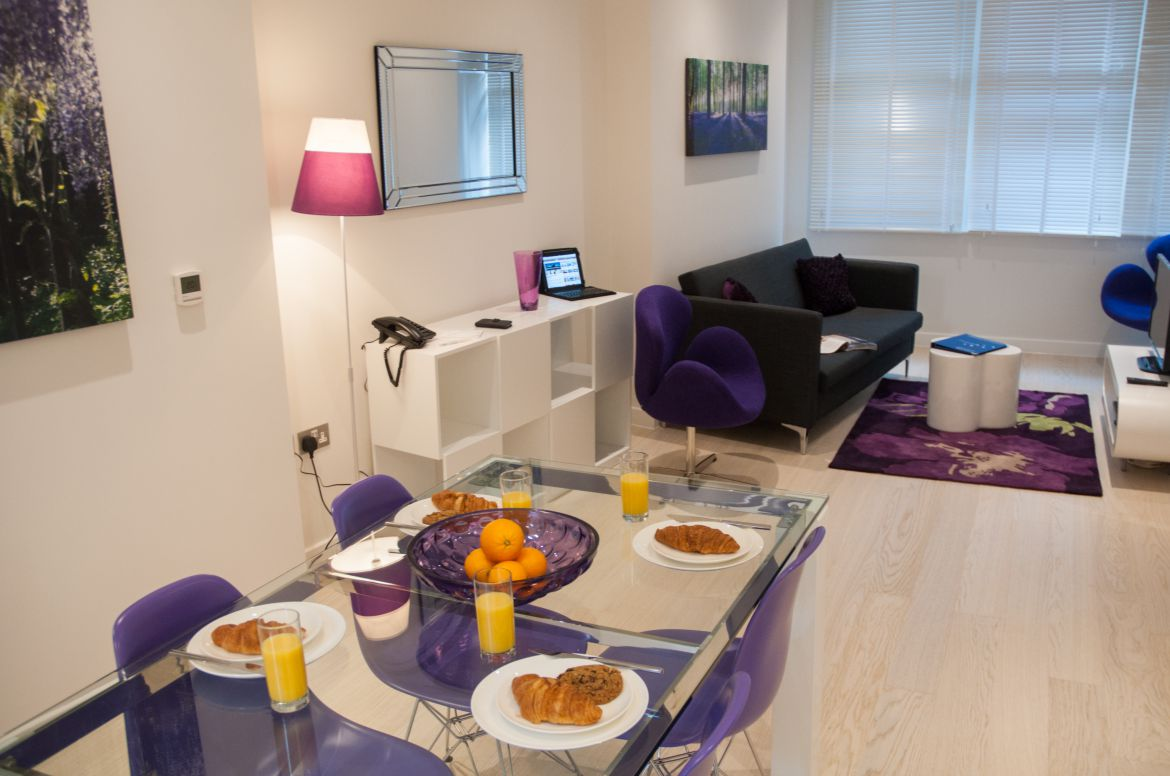 Living-Room-and-Dining-Area-at-West-Street-Serviced-Apartments-Covent-Garden,-London-|-Urban-Stay