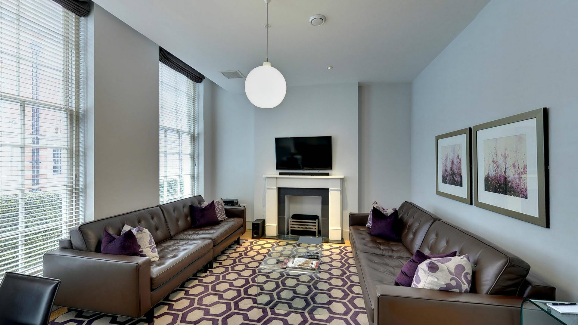 Marylebone Serviced Apartments Central London living room with fireplace Urban Stay