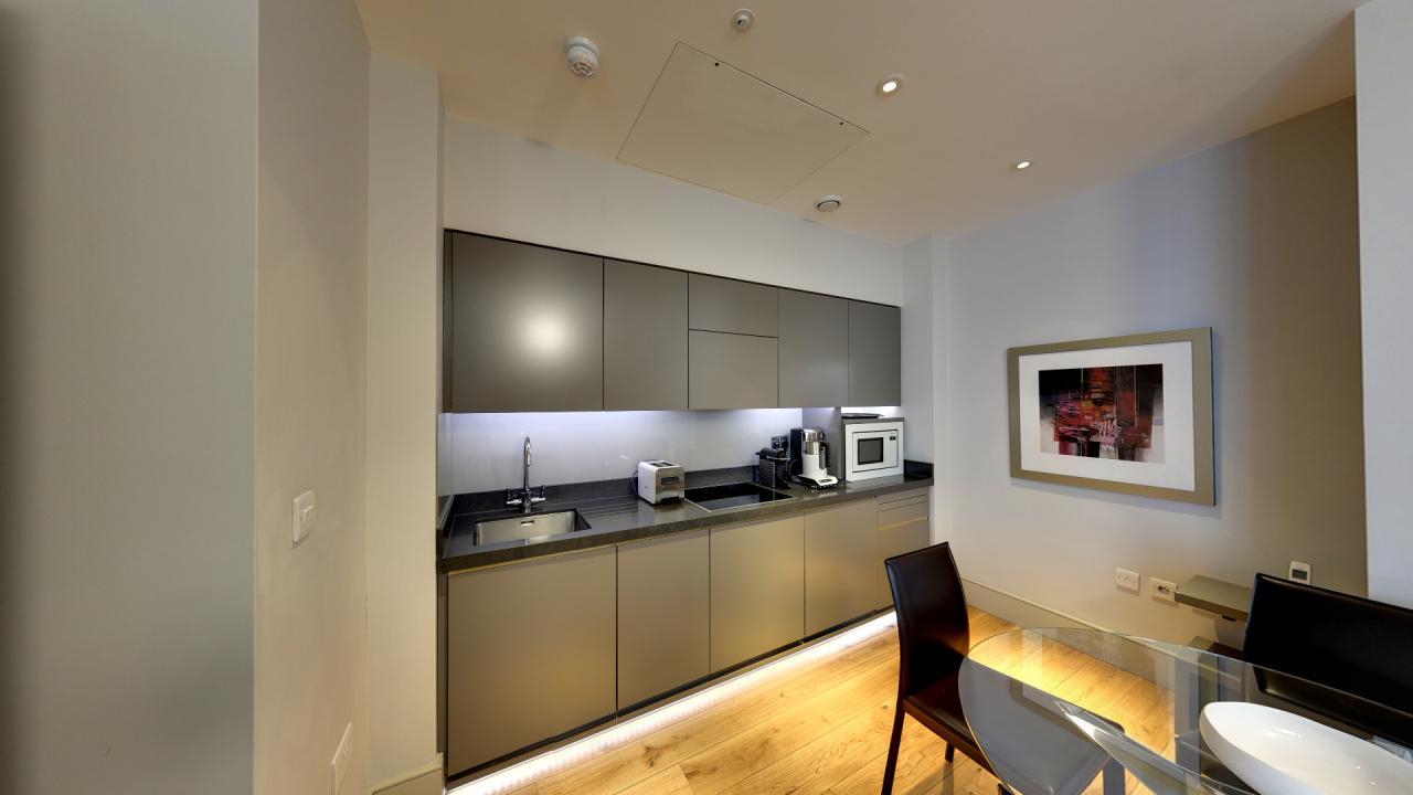 Marylebone Serviced Apartments Central London modern kitchen grey Urban Stay