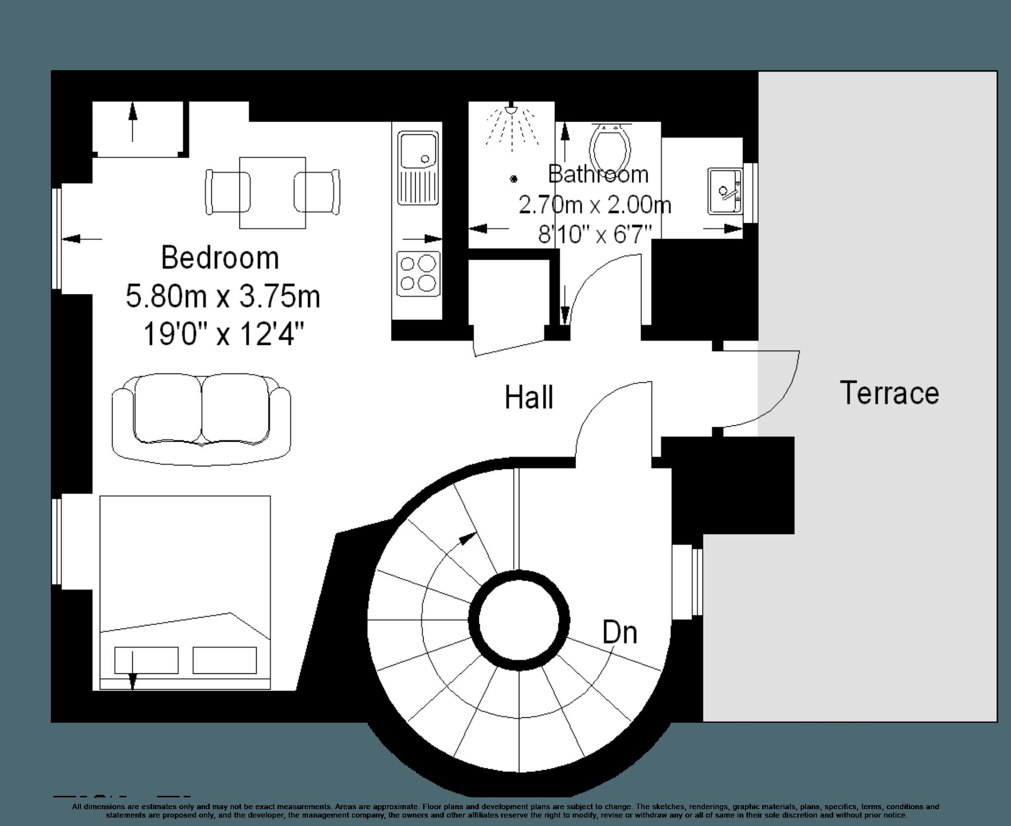 Marylebone Serviced Apartments floorplan studio with terrace