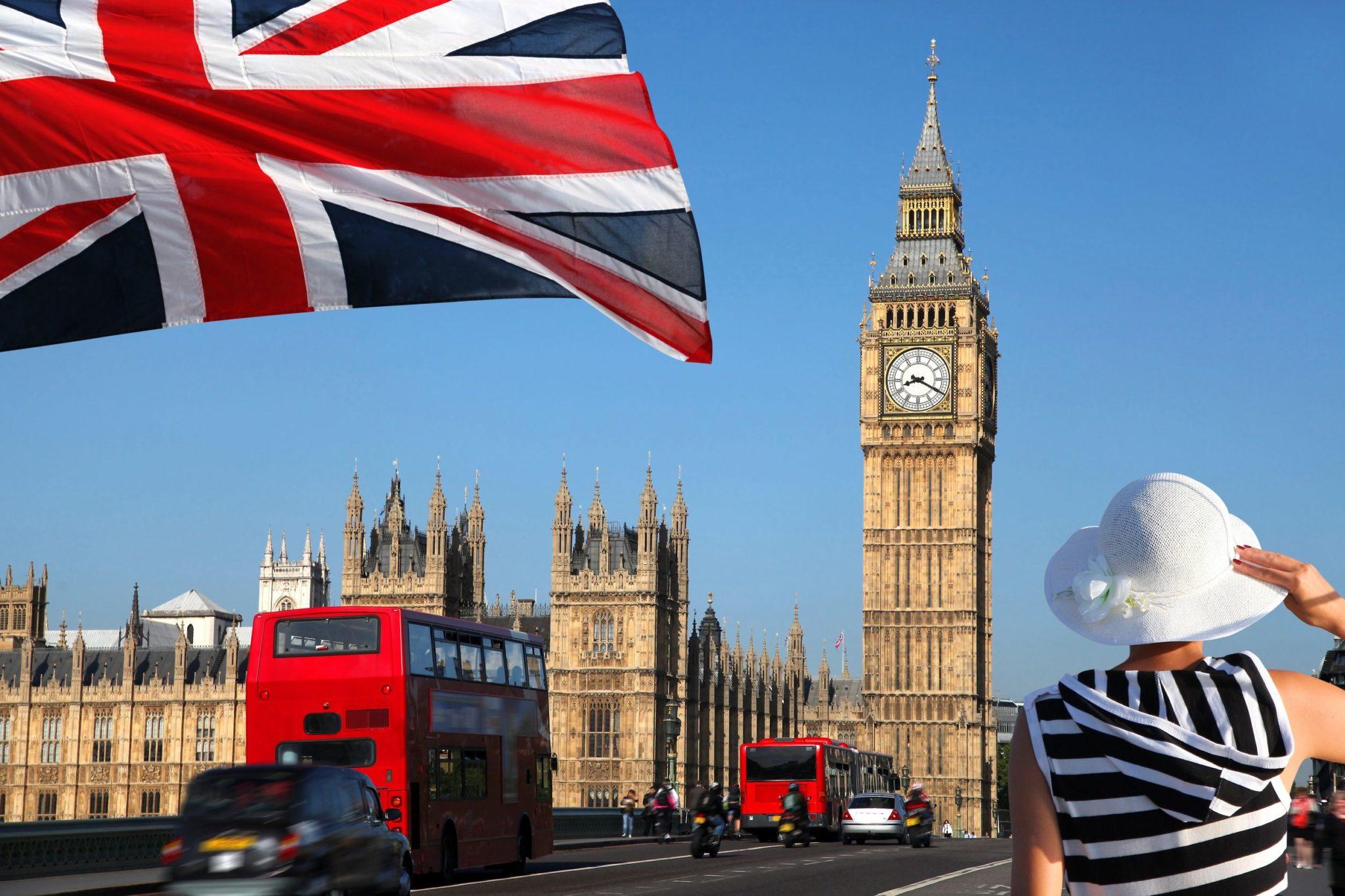 12304347 Big Ben With Flag Of England, London, Uk